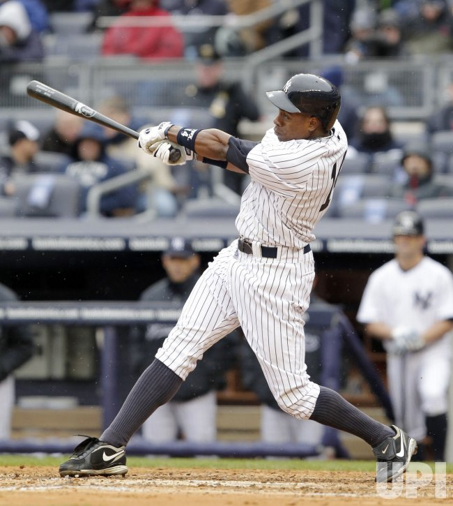 New York Yankees Curtis Granderson on Opening Day at Yankee Stadium in New York