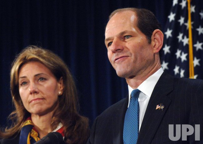 Governor Eliot Spitzer resigns from office at a press conference in New York
