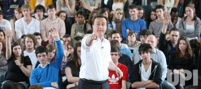 CONSERVATIVE LEADER DAVID CAMERON SPEAKS TO COLLEGE STUDENTS IN BRIGHTON