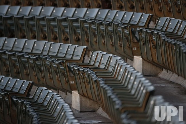 Empty seats are seen at Wrigley Field in Chicago