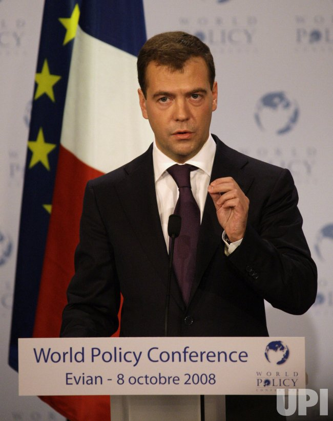 French President Sarkozy and Russian President Medvedev meet at the World Policy Conference in Evian
