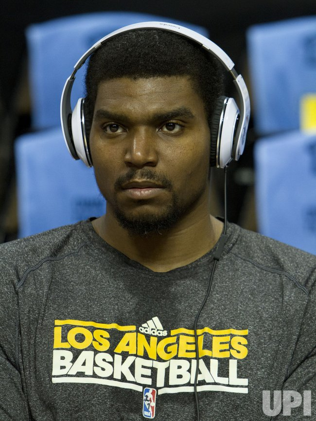 Lakers Bynum Wears Headphones During the NBA Western Conference Playoffs First Round Game Six in Denver
