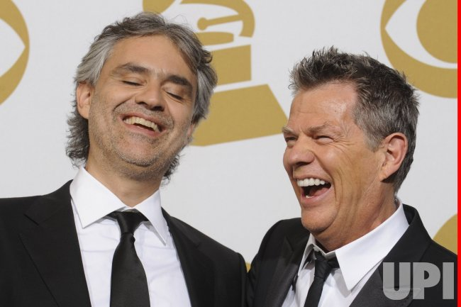 Andrea Bocelli and David Foster appear backstage at the 52nd Annual Grammy Awards