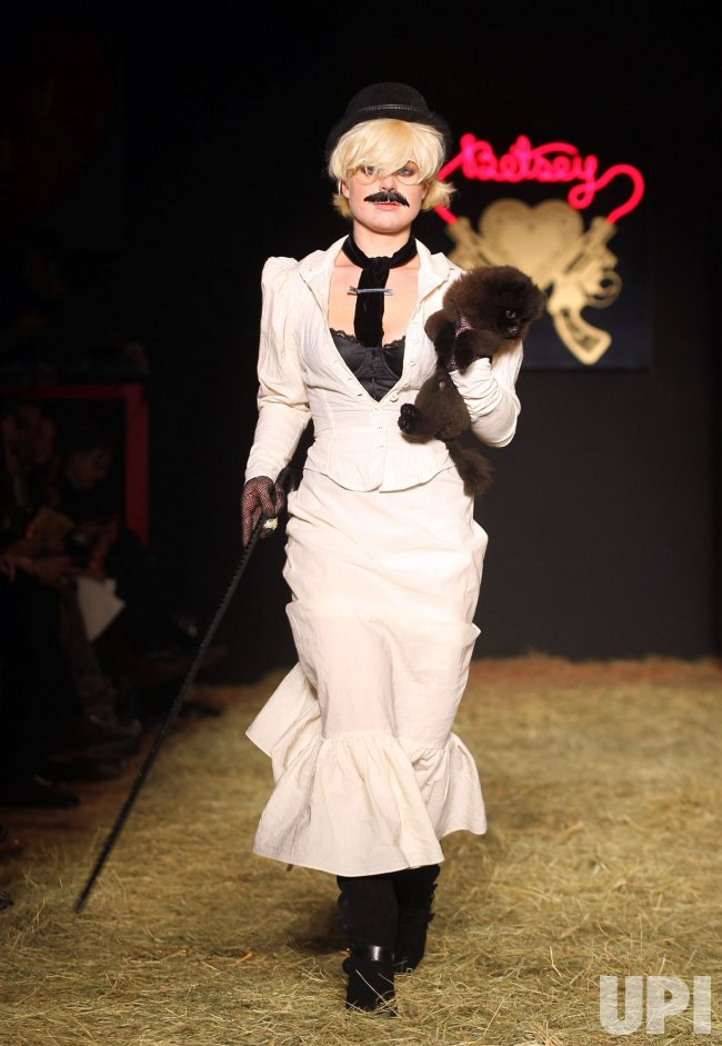 Kelly Osbourne walks the runway at the Betsey Johnson fall fashion show at Mercedes-Benz Fashion Week in New York
