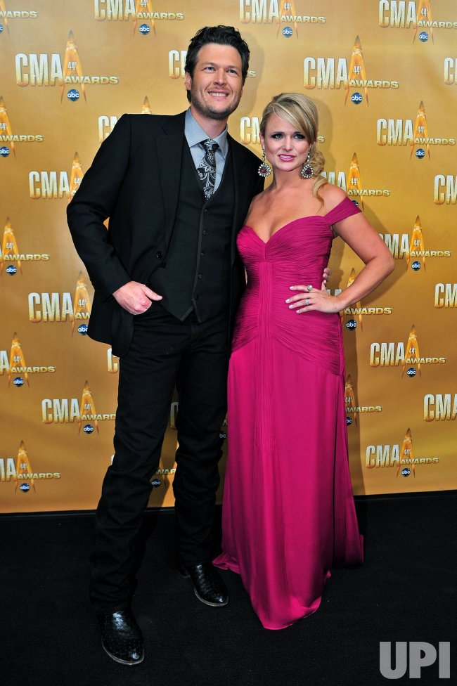 Miranda Lambert and Blake Shelton arrive for the Country Music Awards in Nashville