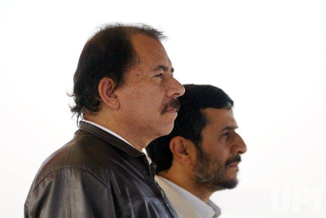 NICARAGUA'S PRESIDENT ORTEGA MEETS HIS IRANIAN COUNTERPART MAHMOUD AHMADINEJAD IN TEHRAN