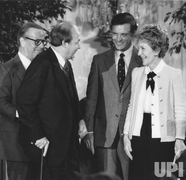 Nancy Reagan greets James Brady