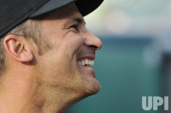 White Sox Infielder Omar Vizquel Smiles During Batting Practice