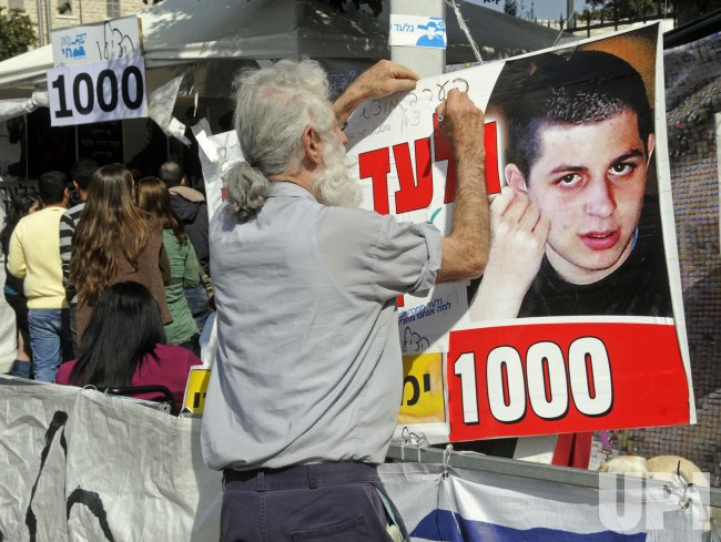 Israelis mark 1,000 days of captivity for abducted Israeli soldier Gilad Shalit in a protest tent in Jerusalem