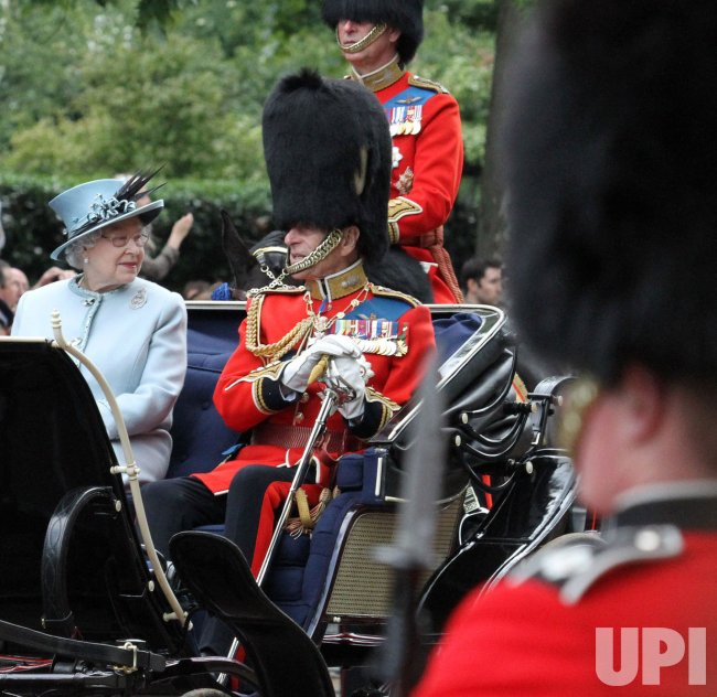 Queen Elizabeth 11 and Duke of Edinburgh after Trooping the Colour.