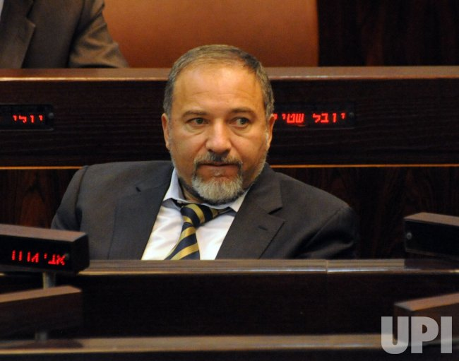 Israeli Foreign Minister Avigdor Lieberman attends a session of the Knesset, the Israeli Parliament, in Jerusalem
