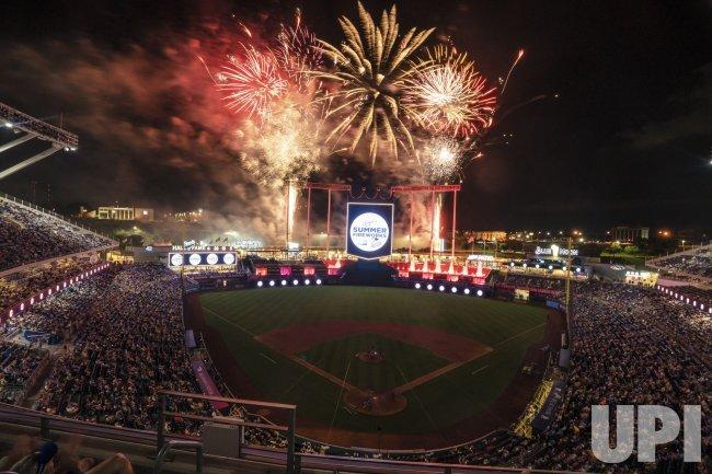 Fireworks Fly Over Kauffman Stadium