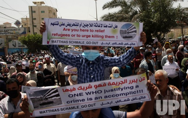 Palestinian Employees of UNRWA Protest in Gaza