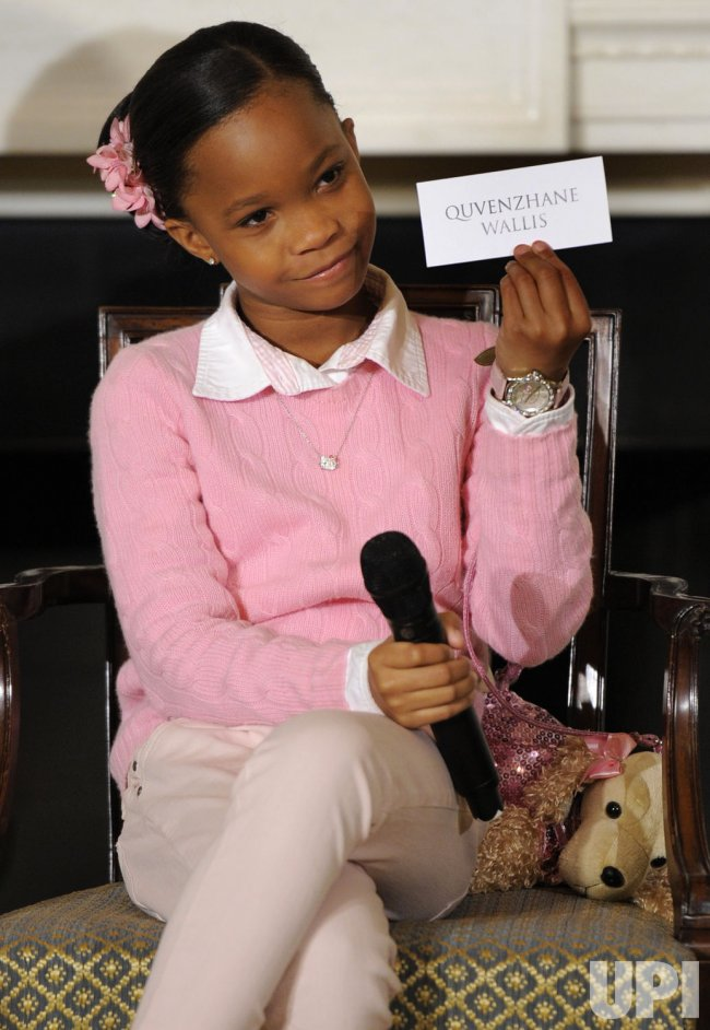 First Lady Michelle Obama holds interactive workshop with child actress Quvenzhane Wallis to mark Black History Month