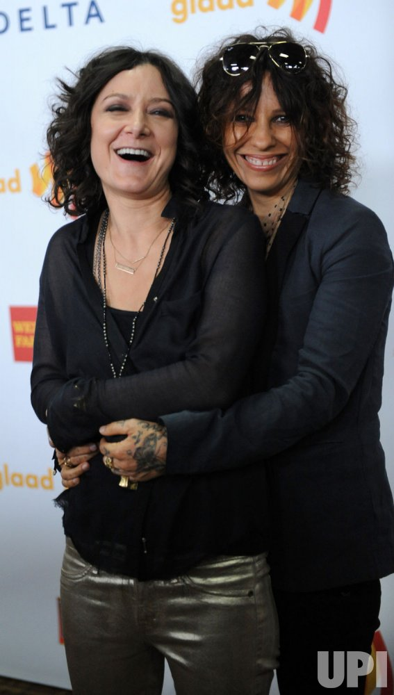 Sara Gilbert and Linda Perry attend the 23rd annual GLAAD Media Awards in Los Angeles