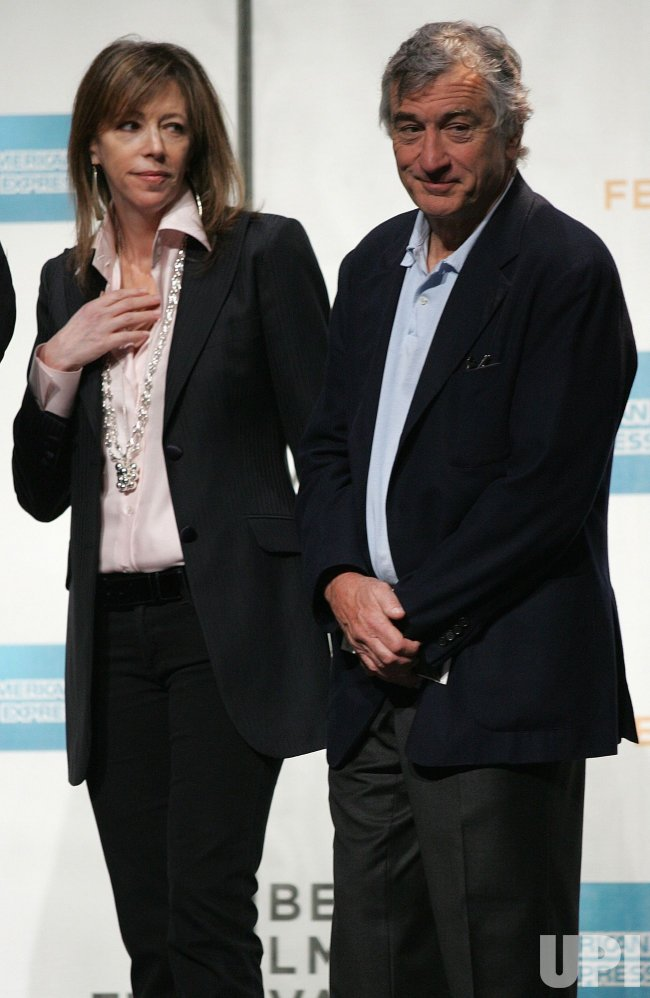 Robert DeNiro and Jane Rosenthal attend the Tribeca Film Festival Opening Press Conference in New York