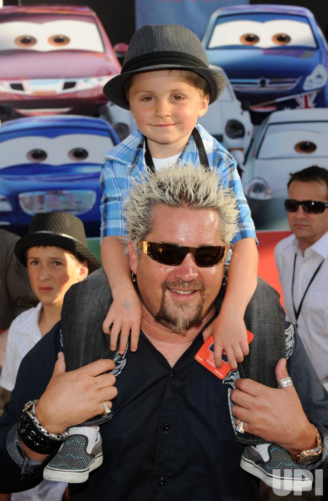 guy fieri and son ryder attend the  u0026quot cars 2 u0026quot  premiere in los angeles