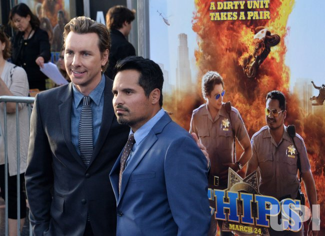 "Dax Shepard and Michael Pena attend the ""CHIPS"" premiere in Los Angeles"