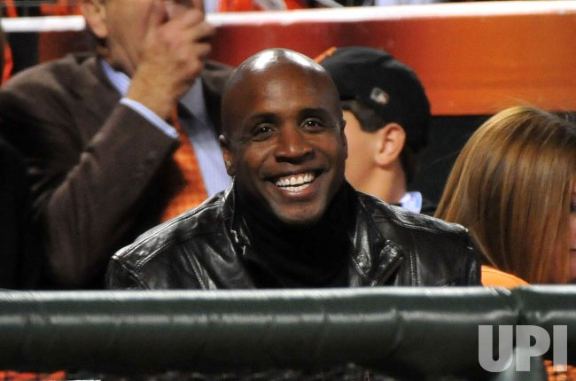 Barry Bonds attends game 1 of the World Series in San Francisco