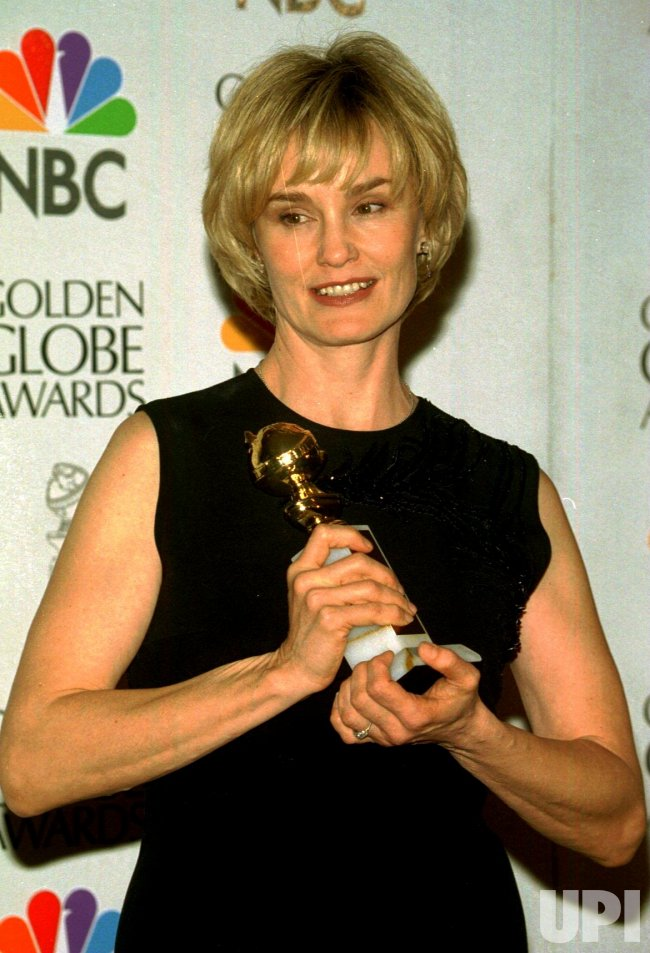 Jessica Lange poses with award