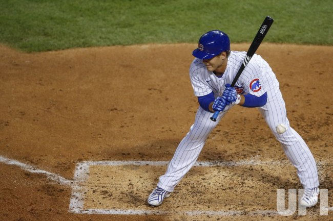 Cubs Anthony Rizzo is hit by a pitch at Wrigley Field in Chicago