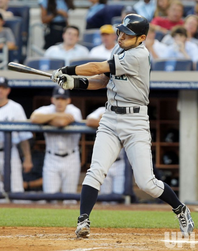 Seattle Mariners Ichiro Suzuki hits an RBI single at Yankee Stadium in New York
