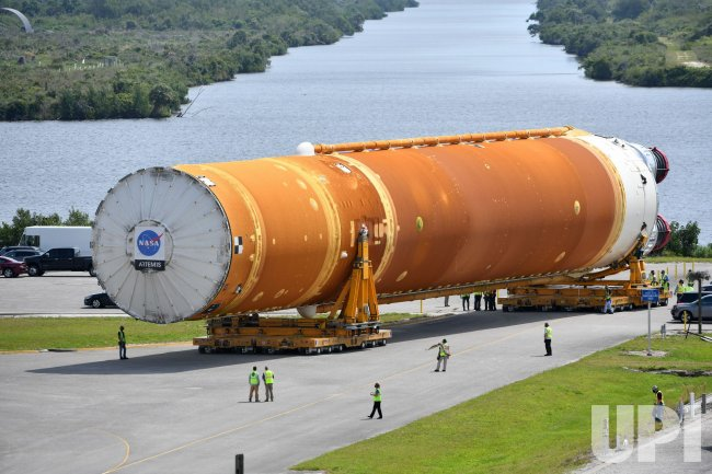NASA's First SLS Rocket is Transported to the VAB at the Kennedy Space Center, Florida