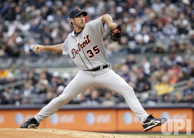 Detroit Tigers starting pitcher Justin Verlander on Opening Day at Yankee Stadium in New York