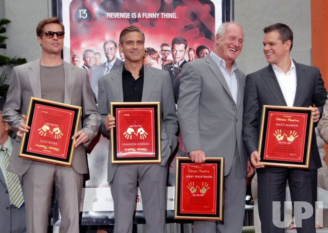 DAMON, PITT AND CLOONEY HONORED AT HAND AND FOOTPRINT CEREMONY IN LOS ANGELES