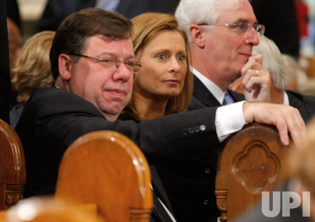 Irish prime minister Brian Cowen and Sarah Brown attend funeral services for U.S. Senator Edward Kennedy in Boston