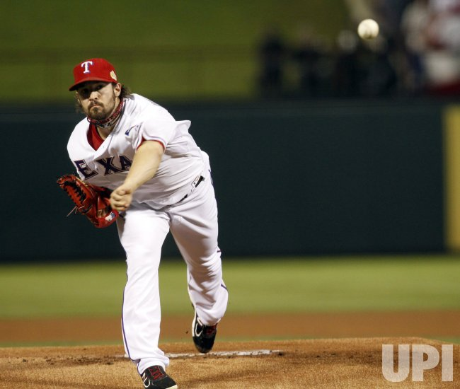Rangers pitcher C.J. Wilson pitches during game 4 of the World Series in Texas