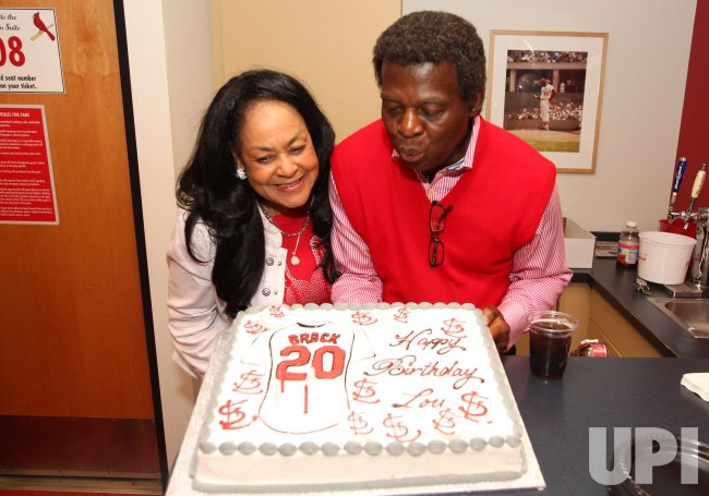 National Baseball Hall of Fame member Lou Brock celebrates 74th birthday at Busch Stadium