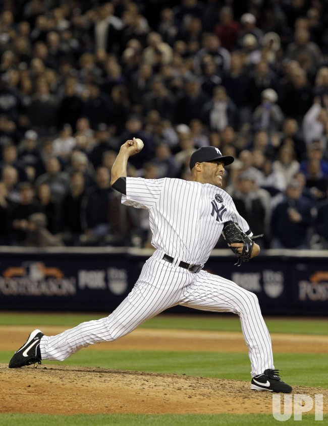 New York Yankees closer Mariano Rivera throws a pitch in Game 3 of the 2010 ALDS at Yankee Stadium in New York