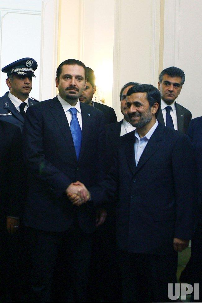 Iranian President Mahmoud Ahmadinejad meets with Lebanese Prime Minister Saad Hariri in Tehran