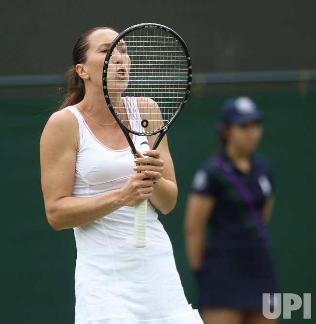 Jelena Janckovic shows emotion at Wimbledon.