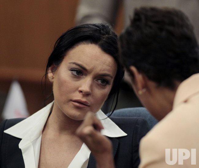 Lindsay Lohan attends probation status hearing in Beverly Hills, California