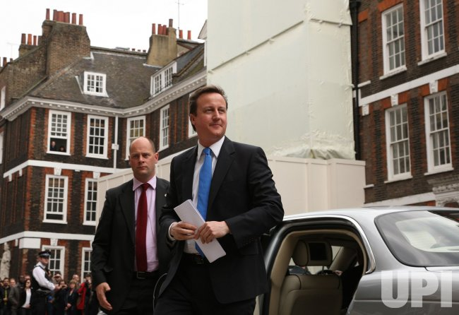 Conservative David Cameron arrives at St.Stephens Club.