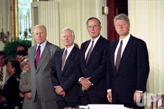 Four U.S. Presidents meet at White House