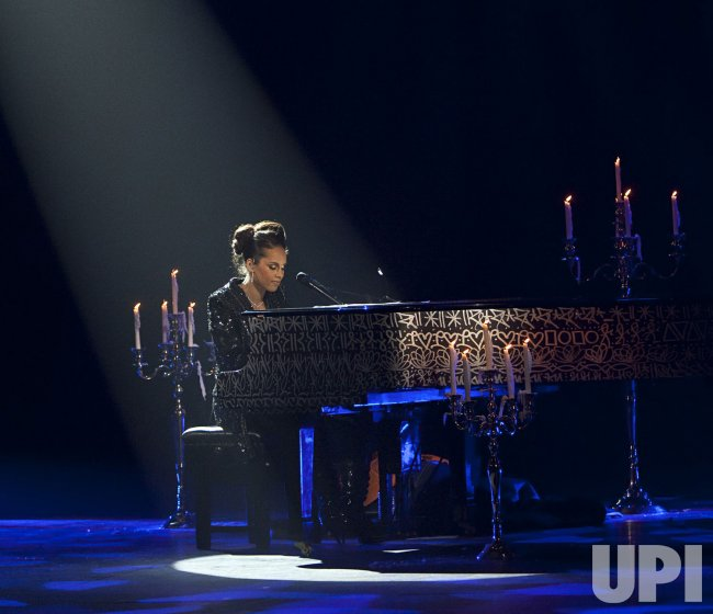 Alicia Keys performs in concert in Paris