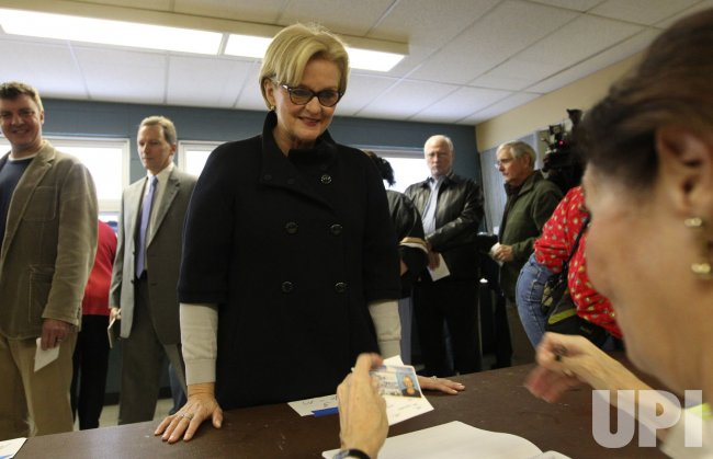 Senator Claire McCaskill votes in her home district of Kirkwood, Missouri