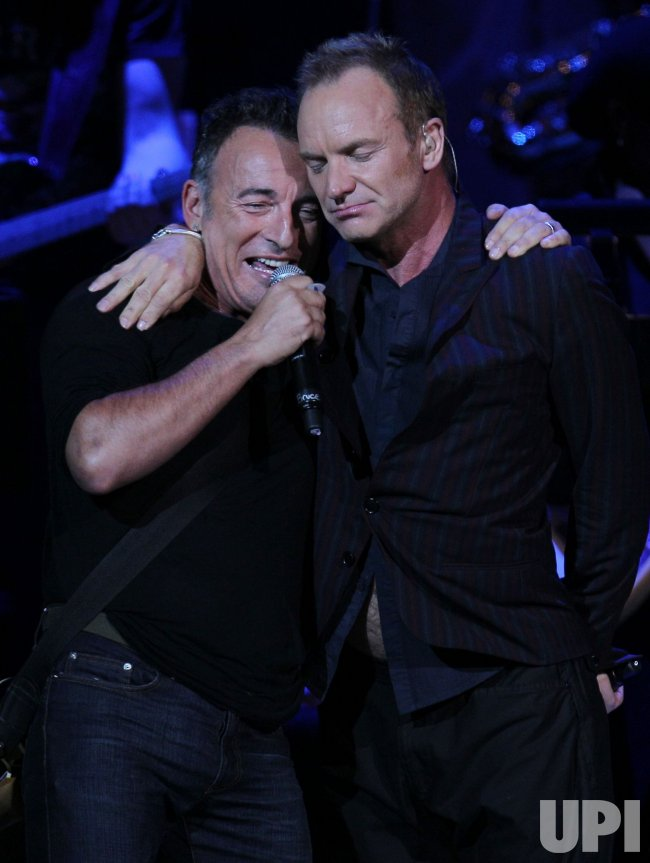 Bruce Springsteen and Sting perform at the Rainforest Fund's 21st Birthday at Carnegie Hall in New York