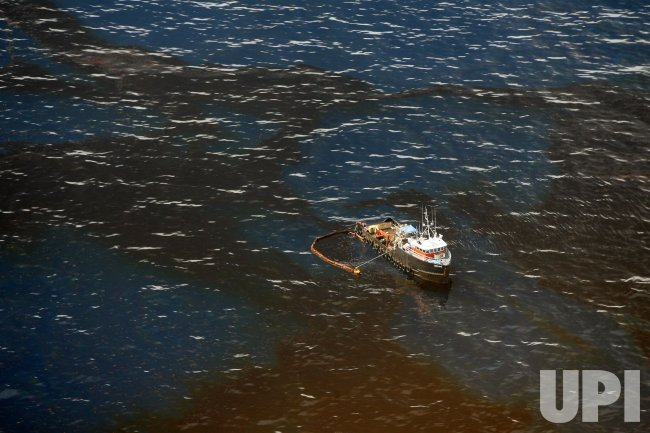 Oil skimmer near the BP Deepwater Horizon spill