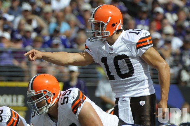Cleveland Browns' quarterback Brady Quinn plays against the Ravens in Baltimore