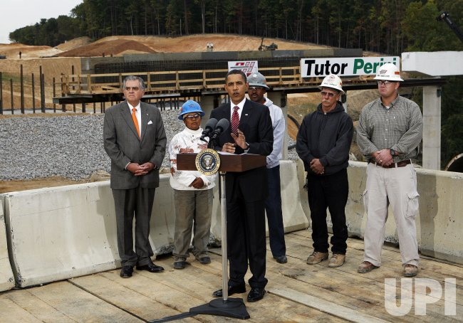 U.S. President Barack Obama tours the Fairfax County Parkway Extension project in Virginia