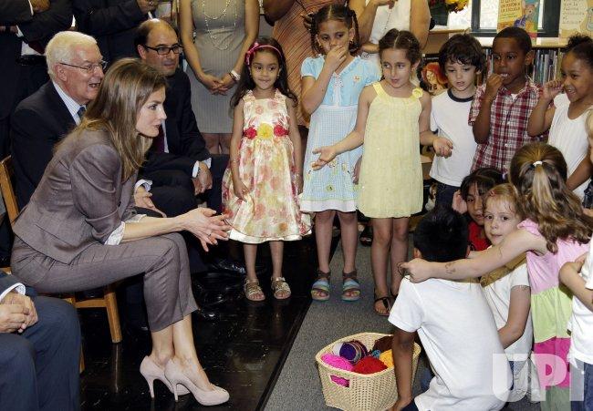 Spain's Princess Letizia tours P.S. 75 in New York