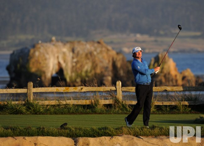 Graeme McDowell on the 18th tee box during the U.S. Open in Pebble Beach, California