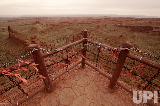 Prayer Ribbons are Tied to a Deck Overlooking China's 'Grand Canyon' in Wangye, China