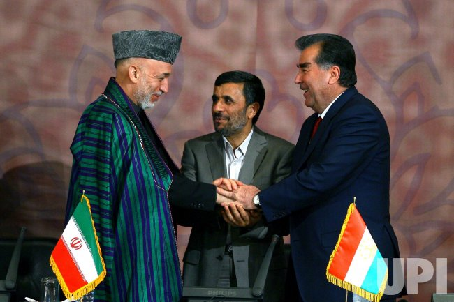 Iranian President Ahmadinejad meets with President of Tajikistan Rakhmon and Afghan President Karzai in Tehran