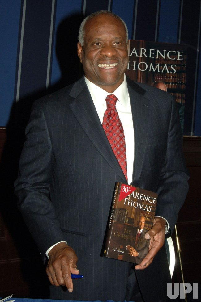 "Justice Clarence Thomas promotes his autobiography ""My Grandfather's Son"" in New York"