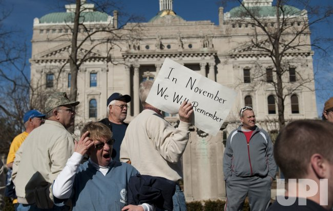 Union supporters protest in Indianapolis ahead of the Super Bowl